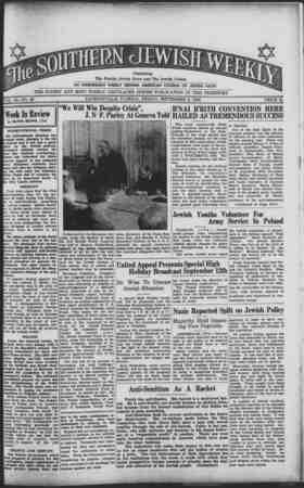 Southern Jewish Weekly Gazetesi 8 Eylül 1939 kapağı