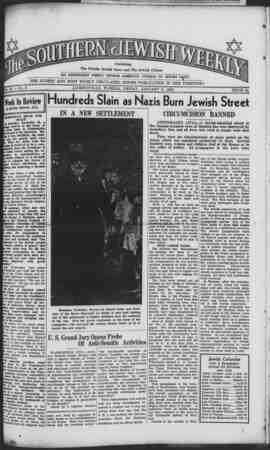 Southern Jewish Weekly Gazetesi 5 Ocak 1940 kapağı