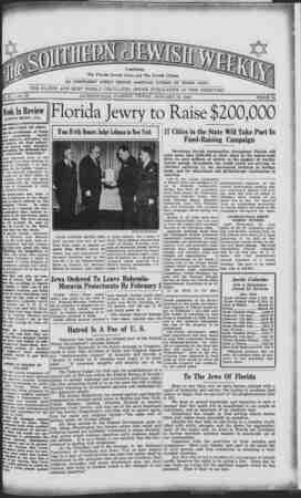 Southern Jewish Weekly Gazetesi January 19, 1940 kapağı