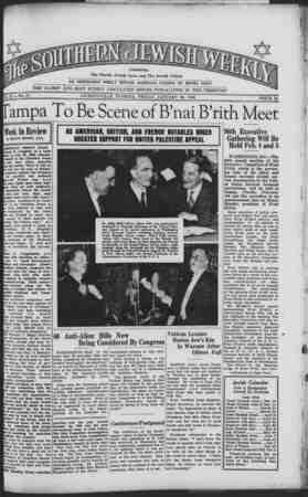 Southern Jewish Weekly Gazetesi 26 Ocak 1940 kapağı