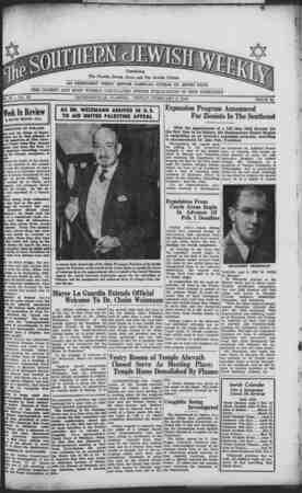 Southern Jewish Weekly Gazetesi 2 Şubat 1940 kapağı