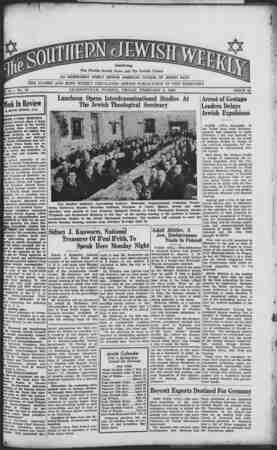 Southern Jewish Weekly Gazetesi 9 Şubat 1940 kapağı