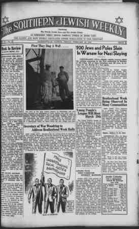 Southern Jewish Weekly Gazetesi 23 Şubat 1940 kapağı