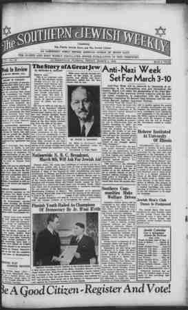 Southern Jewish Weekly Gazetesi 1 Mart 1940 kapağı