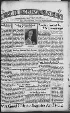 Southern Jewish Weekly Gazetesi March 8, 1940 kapağı