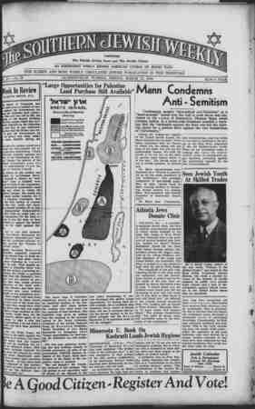 Southern Jewish Weekly Gazetesi March 15, 1940 kapağı