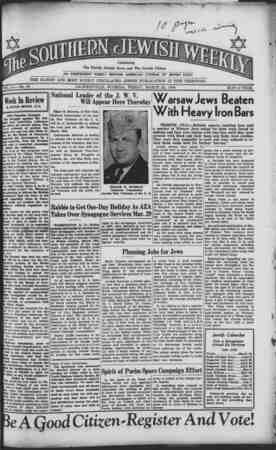 Southern Jewish Weekly Gazetesi 22 Mart 1940 kapağı