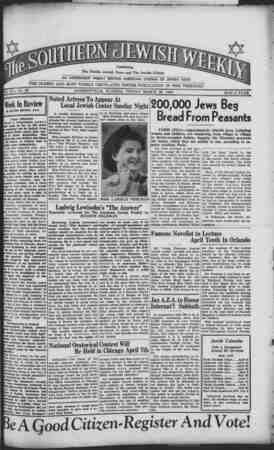 Southern Jewish Weekly Gazetesi 29 Mart 1940 kapağı
