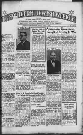 Southern Jewish Weekly Gazetesi 5 Nisan 1940 kapağı
