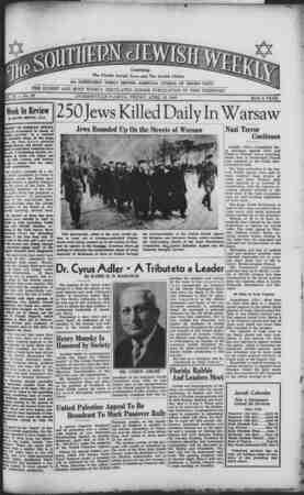 Southern Jewish Weekly Gazetesi 12 Nisan 1940 kapağı