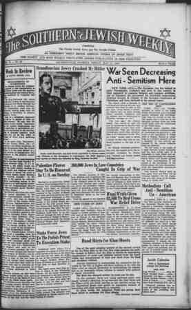 Southern Jewish Weekly Gazetesi 17 Mayıs 1940 kapağı