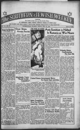 Southern Jewish Weekly Gazetesi 31 Mayıs 1940 kapağı