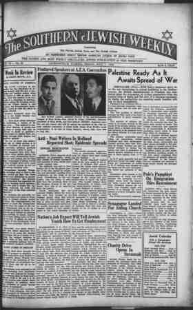 Southern Jewish Weekly Gazetesi 7 Haziran 1940 kapağı