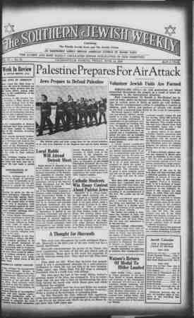 Southern Jewish Weekly Gazetesi 14 Haziran 1940 kapağı