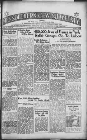 Southern Jewish Weekly Gazetesi 21 Haziran 1940 kapağı