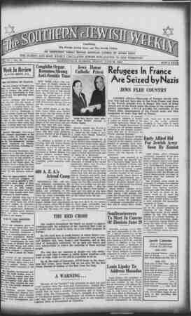Southern Jewish Weekly Gazetesi 28 Haziran 1940 kapağı