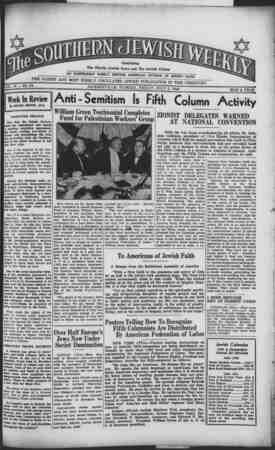 Southern Jewish Weekly Gazetesi 5 Temmuz 1940 kapağı
