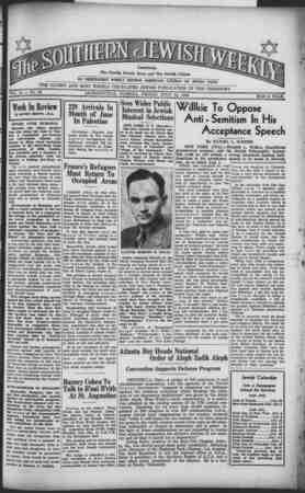 Southern Jewish Weekly Gazetesi 12 Temmuz 1940 kapağı
