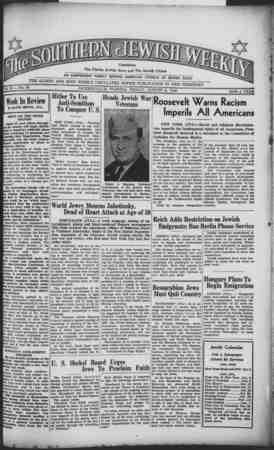 Southern Jewish Weekly Gazetesi 9 Ağustos 1940 kapağı