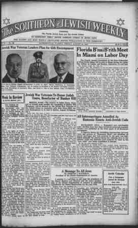 Southern Jewish Weekly Gazetesi 16 Ağustos 1940 kapağı