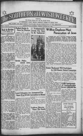 Southern Jewish Weekly Gazetesi 23 Ağustos 1940 kapağı