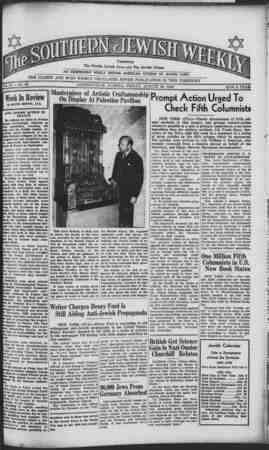 Southern Jewish Weekly Gazetesi 30 Ağustos 1940 kapağı