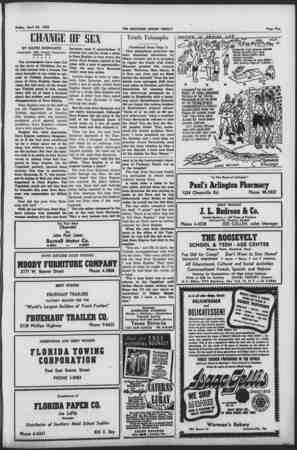 Friday, April 24, 1953 CHANGE DF SEX BY DAVID SCHWARTZ (Copyright', 1953, Jewish Telegraphic Agency, Inc.) •** * * The...