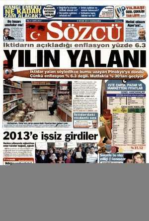 Sözcü Gazetesi 2 Ocak 2013 kapağı