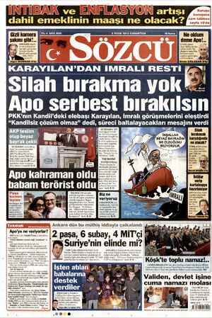 Sözcü Gazetesi 5 Ocak 2013 kapağı