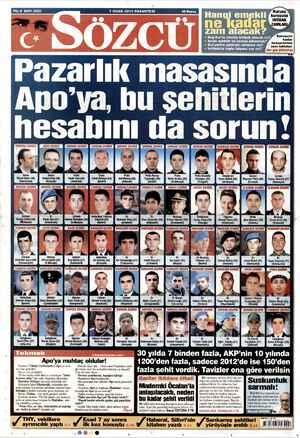 Sözcü Gazetesi 7 Ocak 2013 kapağı