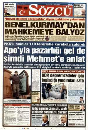 Sözcü Gazetesi 9 Ocak 2013 kapağı