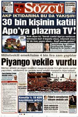 Sözcü Gazetesi 12 Ocak 2013 kapağı