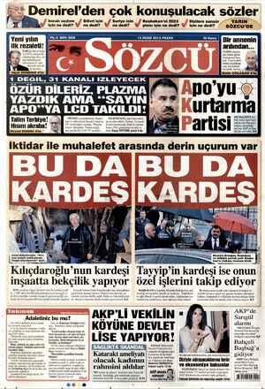 Sözcü Gazetesi 13 Ocak 2013 kapağı