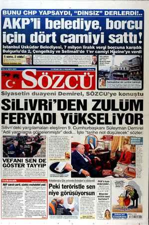 Sözcü Gazetesi 14 Ocak 2013 kapağı