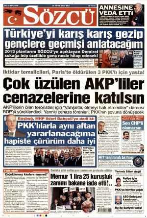 Sözcü Gazetesi 15 Ocak 2013 kapağı