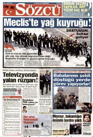 Sözcü Gazetesi 16 Ocak 2013 kapağı