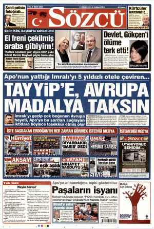 Sözcü Gazetesi 19 Ocak 2013 kapağı