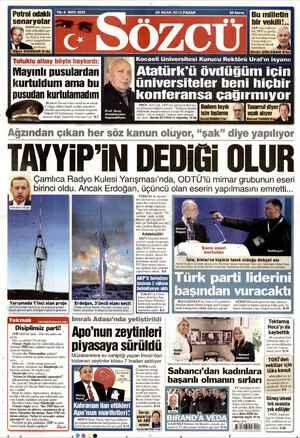 Sözcü Gazetesi 20 Ocak 2013 kapağı