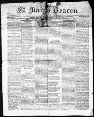 St. Mary's Beacon Gazetesi 6 Ocak 1853 kapağı