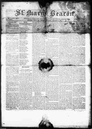 St. Mary's Beacon Gazetesi 13 Ocak 1853 kapağı
