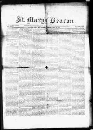 St. Mary's Beacon Gazetesi 28 Nisan 1853 kapağı