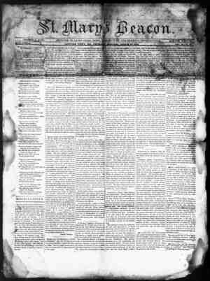 St. Mary's Beacon Gazetesi 10 Ağustos 1854 kapağı