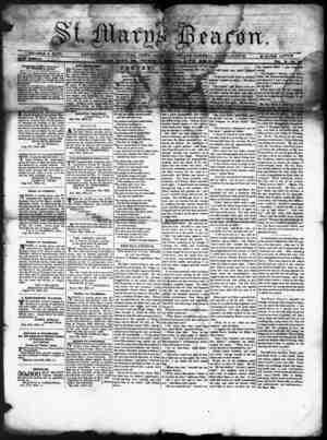 St. Mary's Beacon Gazetesi 14 Eylül 1854 kapağı