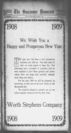 Suwannee Democrat Gazetesi 1 Ocak 1909 kapağı