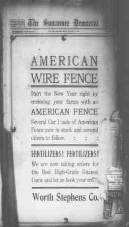 Suwannee Democrat Gazetesi 8 Ocak 1909 kapağı