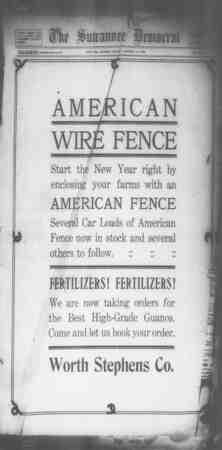 Suwannee Democrat Gazetesi 15 Ocak 1909 kapağı