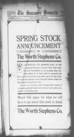 Suwannee Democrat Gazetesi 22 Ocak 1909 kapağı