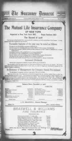Suwannee Democrat Gazetesi 26 Şubat 1909 kapağı