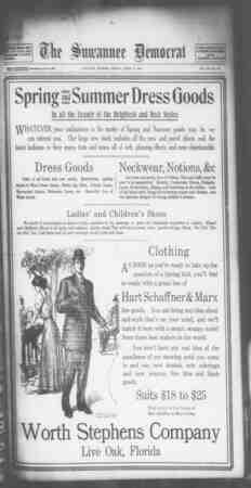 Suwannee Democrat Gazetesi 9 Nisan 1909 kapağı