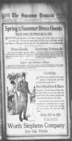Suwannee Democrat Gazetesi 16 Nisan 1909 kapağı
